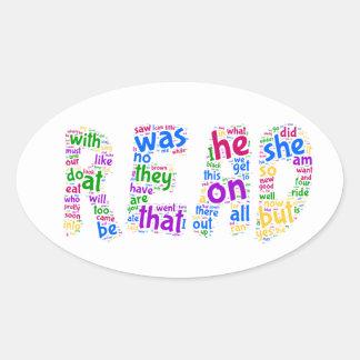 読書! あなたの視力の単語を学んで下さい! 楕円形シール