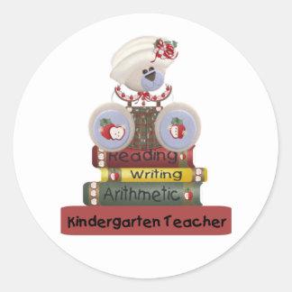 読書、執筆、算術幼稚園教師 ラウンドシール