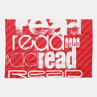 読書; 深紅の赤のストライプ キッチンタオル