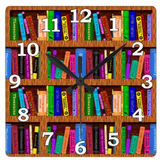 読者のための図書館の本棚パターン スクエア壁時計
