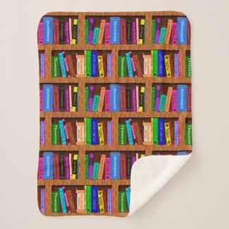 読者のための本の図書館の本だなのかわいらしいパターン シェルパブランケット