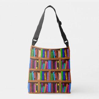 読者のための本の図書館の本だなパターン クロスボディバッグ