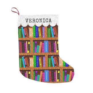 読者の図書館の本だなの本パターン名前をカスタムする スモールクリスマスストッキング