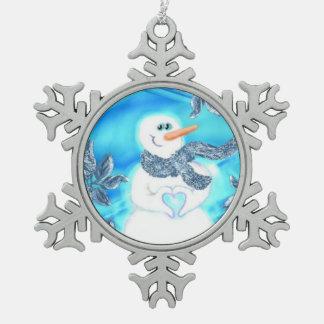 誰かは感情的な雪だるまのオーナメント愛します スノーフレークピューターオーナメント