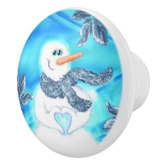 誰かは感情的な雪だるまの陶磁器のノブ愛します セラミックノブ