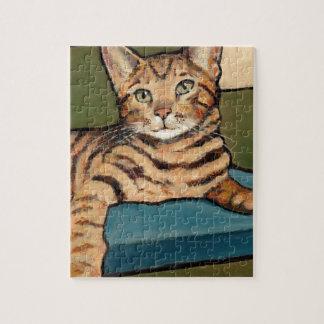 調べているベンガル猫元の絵画 ジグソーパズル