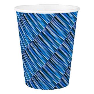 調和および平和青くストライプので抽象的なパターン 紙コップ