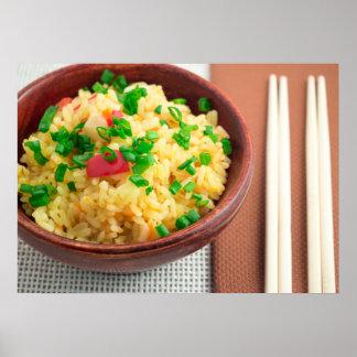 調理された米および野菜の木ボール ポスター