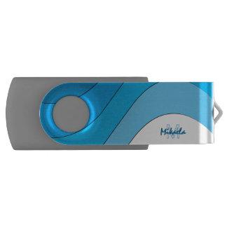 調的な波の青くストライプのでカスタムな名前入り USBフラッシュドライブ