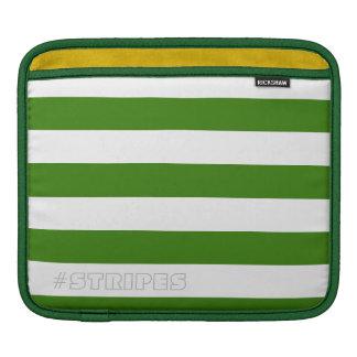 調節可能な緑を縞で飾ります iPadスリーブ