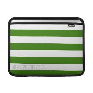 調節可能な緑を縞で飾ります MacBook スリーブ