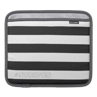 調節可能な黒を縞で飾ります iPadスリーブ