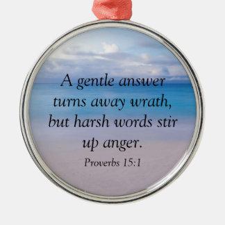 諺の15:1 -聖書の詩 メタルオーナメント