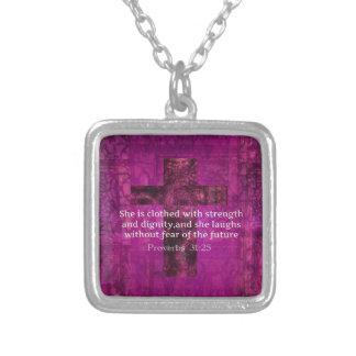 諺の31:25の感動的な聖書の詩の女性 シルバープレートネックレス