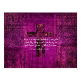 諺の31:25の感動的な聖書の詩の女性 ポストカード