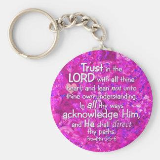 諺の3:5 -主の6 KJVの信頼 キーホルダー
