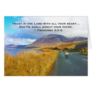 諺の3:5 - 6つは主を信頼します美しいアイルランド、 カード