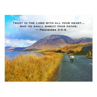 諺の3:5 - 6つは主を信頼します美しいアイルランド、 ポストカード