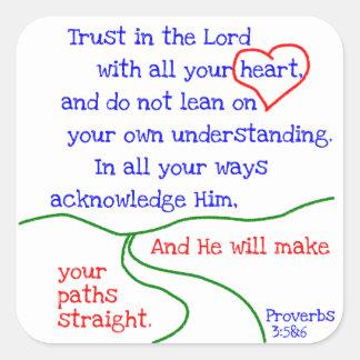 諺の3:5 &6のステッカー スクエアシール
