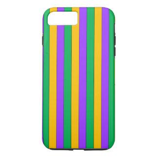謝肉祭のストライプなパターン紫色の緑の黄色 iPhone 8 PLUS/7 PLUSケース