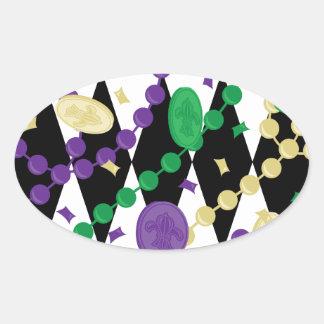 謝肉祭のビーズ 楕円形シール