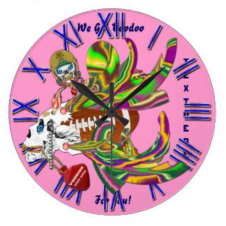 謝肉祭のフットボールのブードゥーSkellyの眺めはPlseに注意します ラージ壁時計