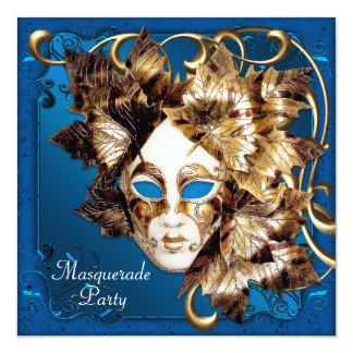 謝肉祭のマスクの青い金ゴールドの仮面舞踏会のパーティー 13.3 スクエアインビテーションカード
