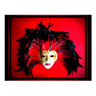 謝肉祭の仮面劇の黒くおよび赤いレリーフ、浮き彫り ポストカード