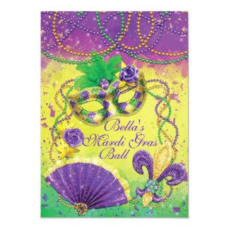謝肉祭の仮面舞踏会のパーティの招待状 カード