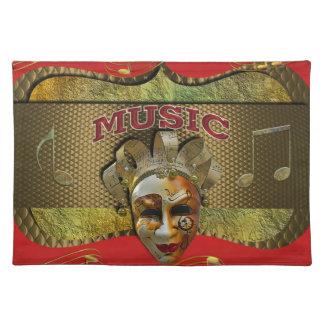 謝肉祭の微笑のマスク金属音楽ノート ランチョンマット