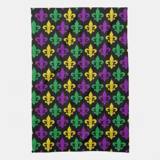 謝肉祭の緑金ゴールドの紫色のアヤメパターン キッチンタオル