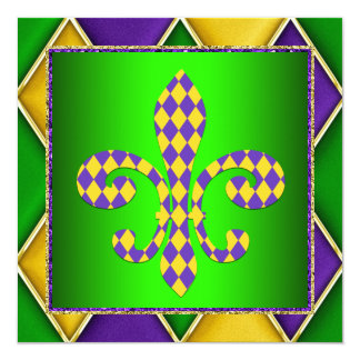 謝肉祭の(紋章の)フラ・ダ・リの謝肉祭のパーティー カード