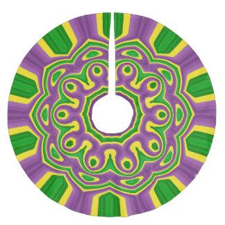 謝肉祭緑の黄色い紫色パターン曼荼羅 ブラッシュドポリエステルツリースカート
