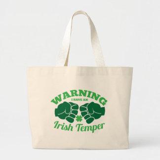 警告して私はアイルランドの気性を有します! 素晴らしいアイルランド語から ラージトートバッグ