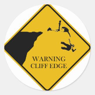 警告の崖の端 ラウンドシール