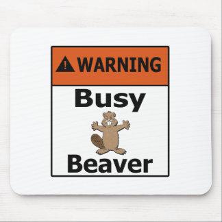 警告の忙しいビーバー マウスパッド