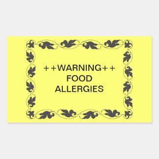 警告の食物アレルギー 長方形シール