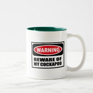 警告は私のCOCKAPOOのマグの用心します ツートーンマグカップ