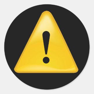 警告を表す記号の感嘆符の三角形 ラウンドシール