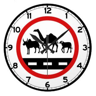 警告牛、ラクダ及びヒツジの印、モーリタニア ラージ壁時計
