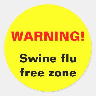 警告! ブタのインフルエンザの自由地帯 丸形シール・ステッカー