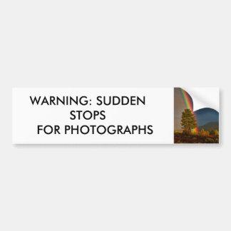 警告: 写真のための突然停止 バンパーステッカー