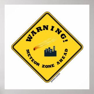 警告! 前方の流星の地帯(ダイヤモンドの黄色い印) ポスター
