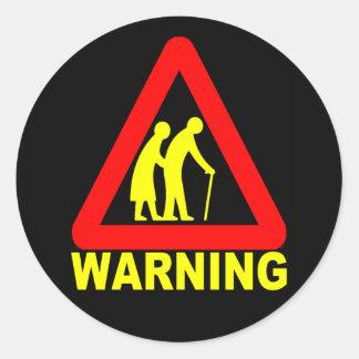 警告-年配の交差 ラウンドシール