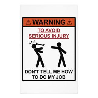警告-私に私の仕事をする方法を言わないで下さい 便箋