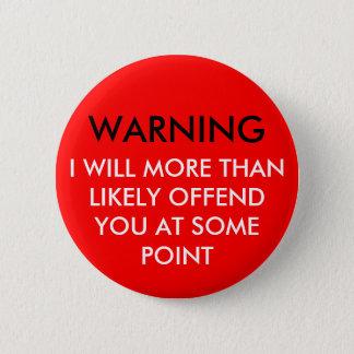 警告 缶バッジ