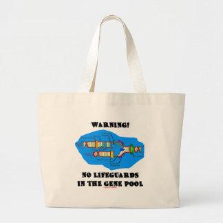 警告! 遺伝子給源のライフガード無し ラージトートバッグ