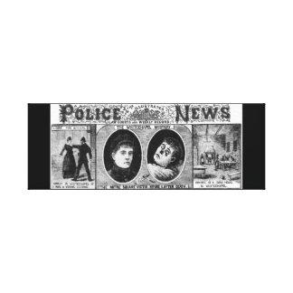 警察のニュースの1888年のWhitechapleの図解入りの、写真付きのなミステリー キャンバスプリント
