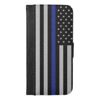 警察の薄いブルーラインアメリカ人を支えて下さい iPhone 6/6S PLUS ウォレットケース
