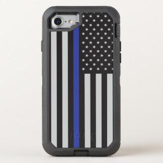 警察の薄いブルーライン米国旗を支えて下さい オッターボックスディフェンダーiPhone 8/7 ケース
